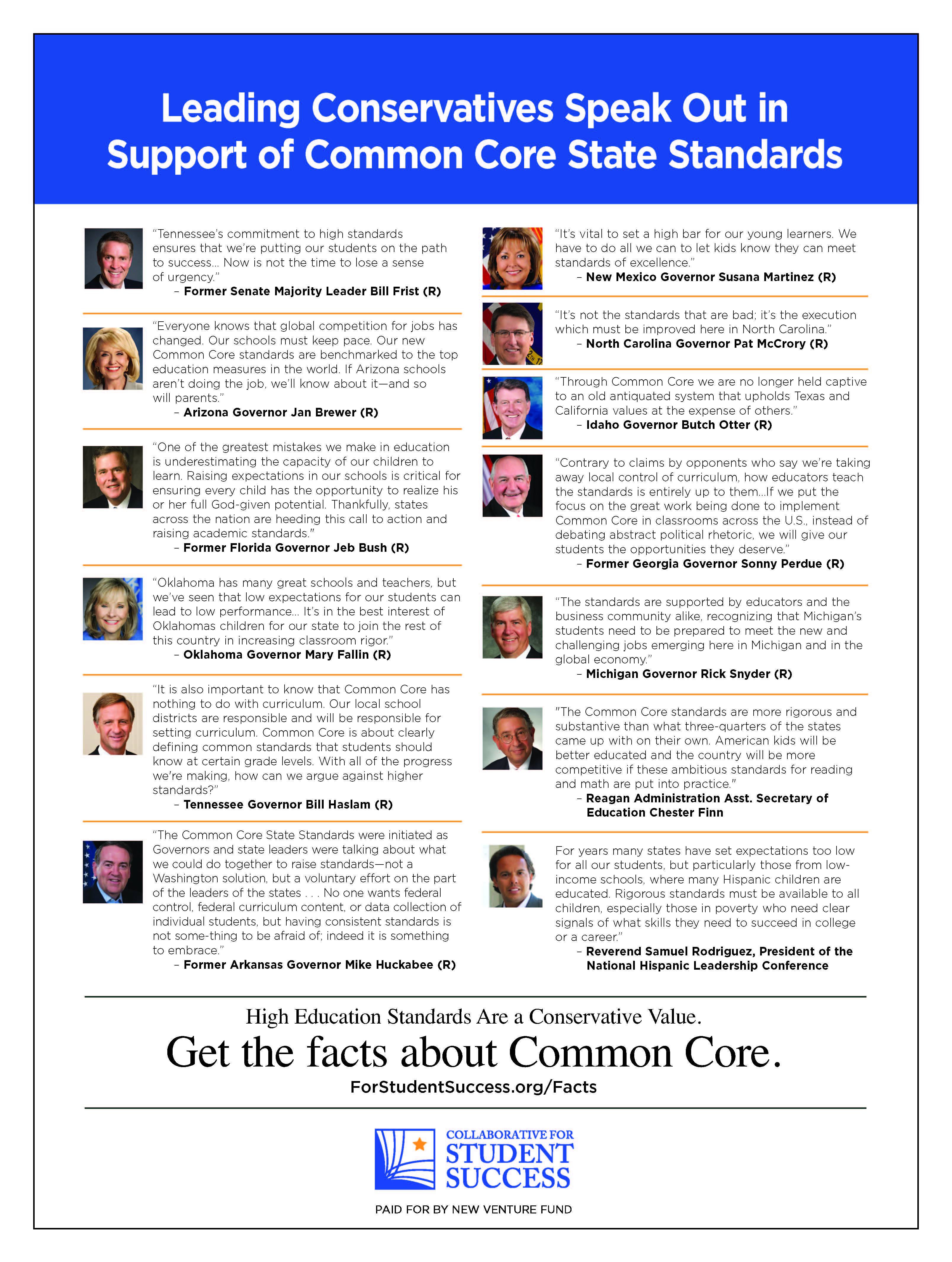 Leading Conservatives Speak Out in Support of Common Core State Standards