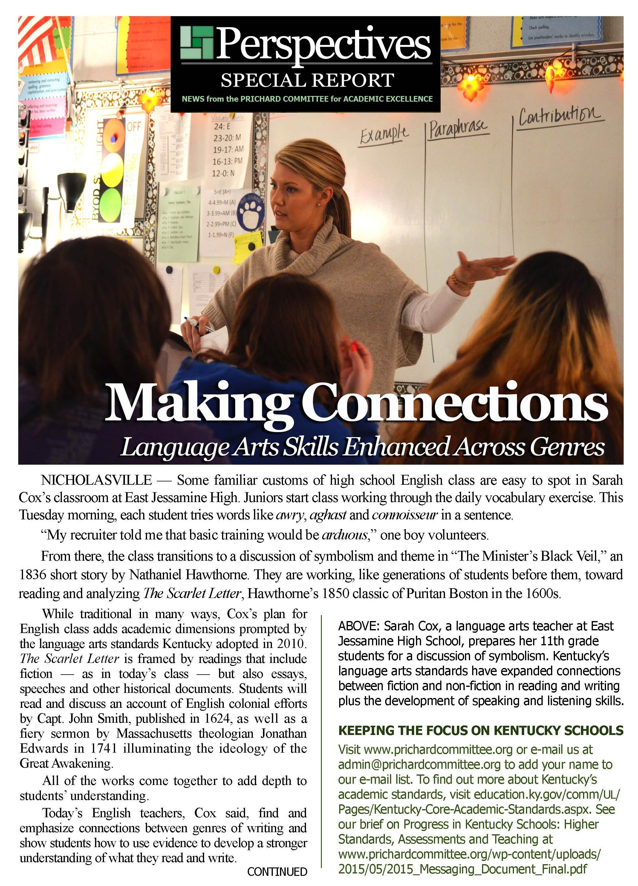 PERSPECTIVES SPECIAL REPORT | Making Connections: Language Art Skills Enhanced Across Genres