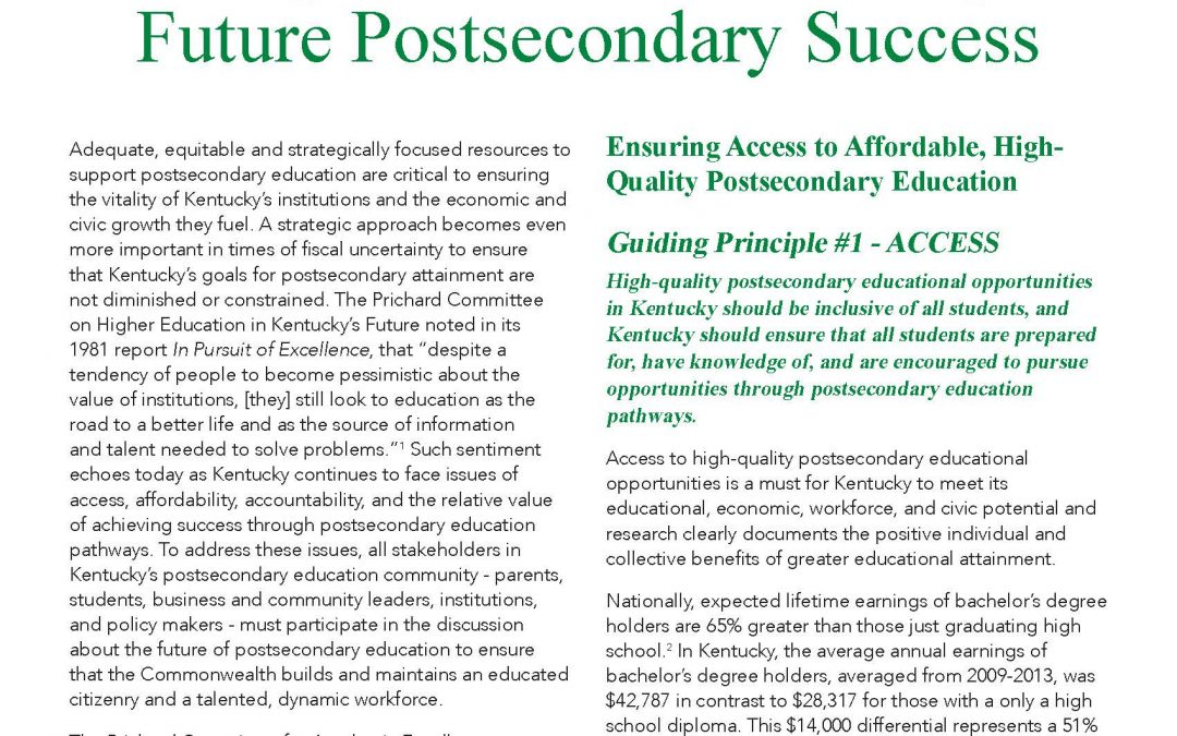 Committee Releases Postsecondary Guiding Principles