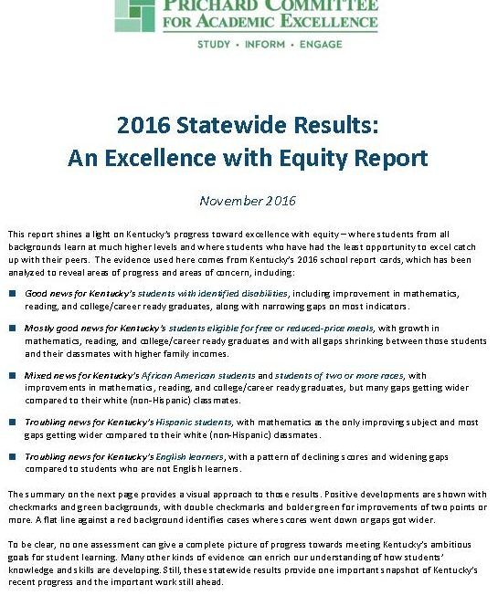 2016 Statewide Results: An Excellence with Equity Report