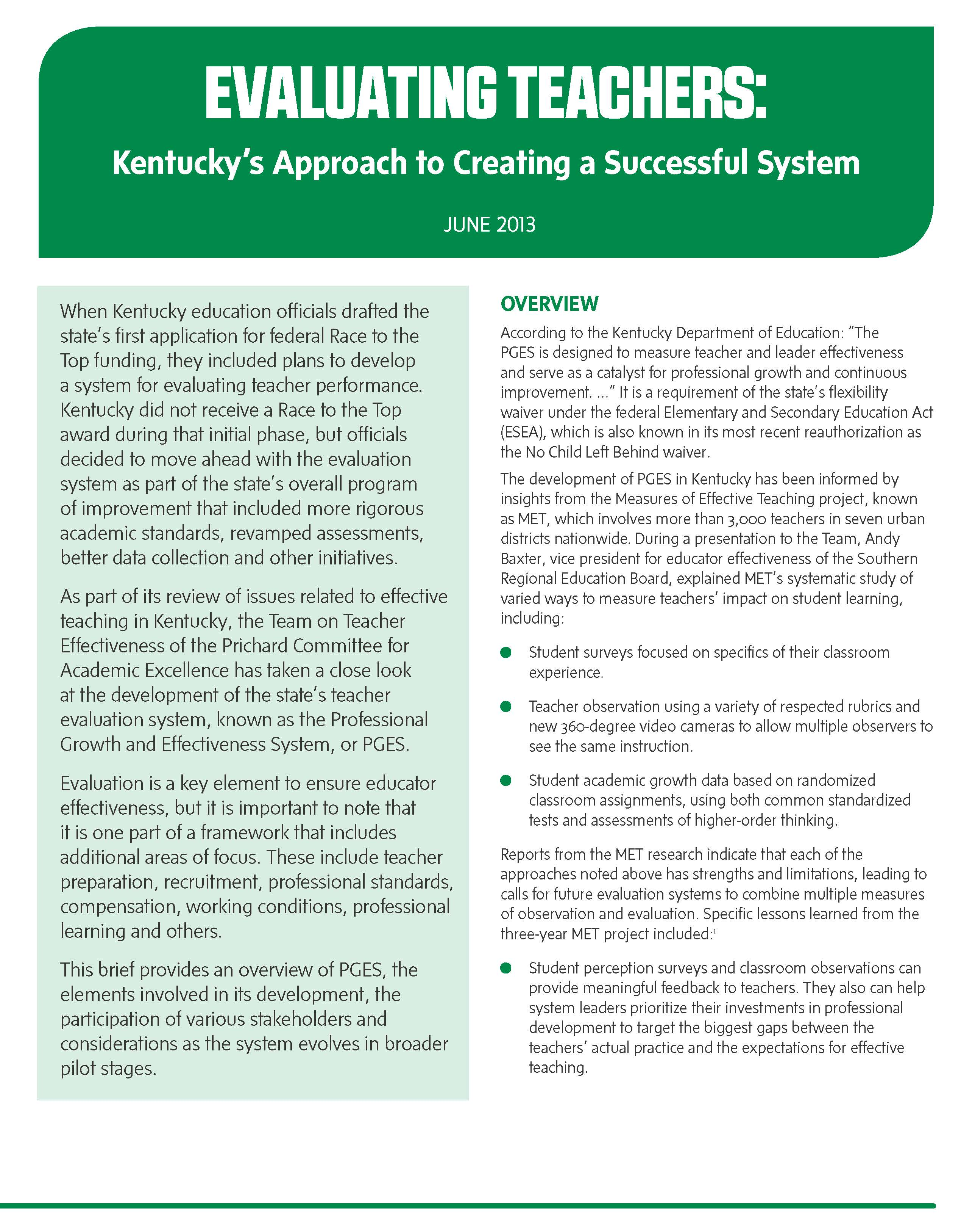 Evaluating Teachers: Kentucky's Approach to Creating a Successful System