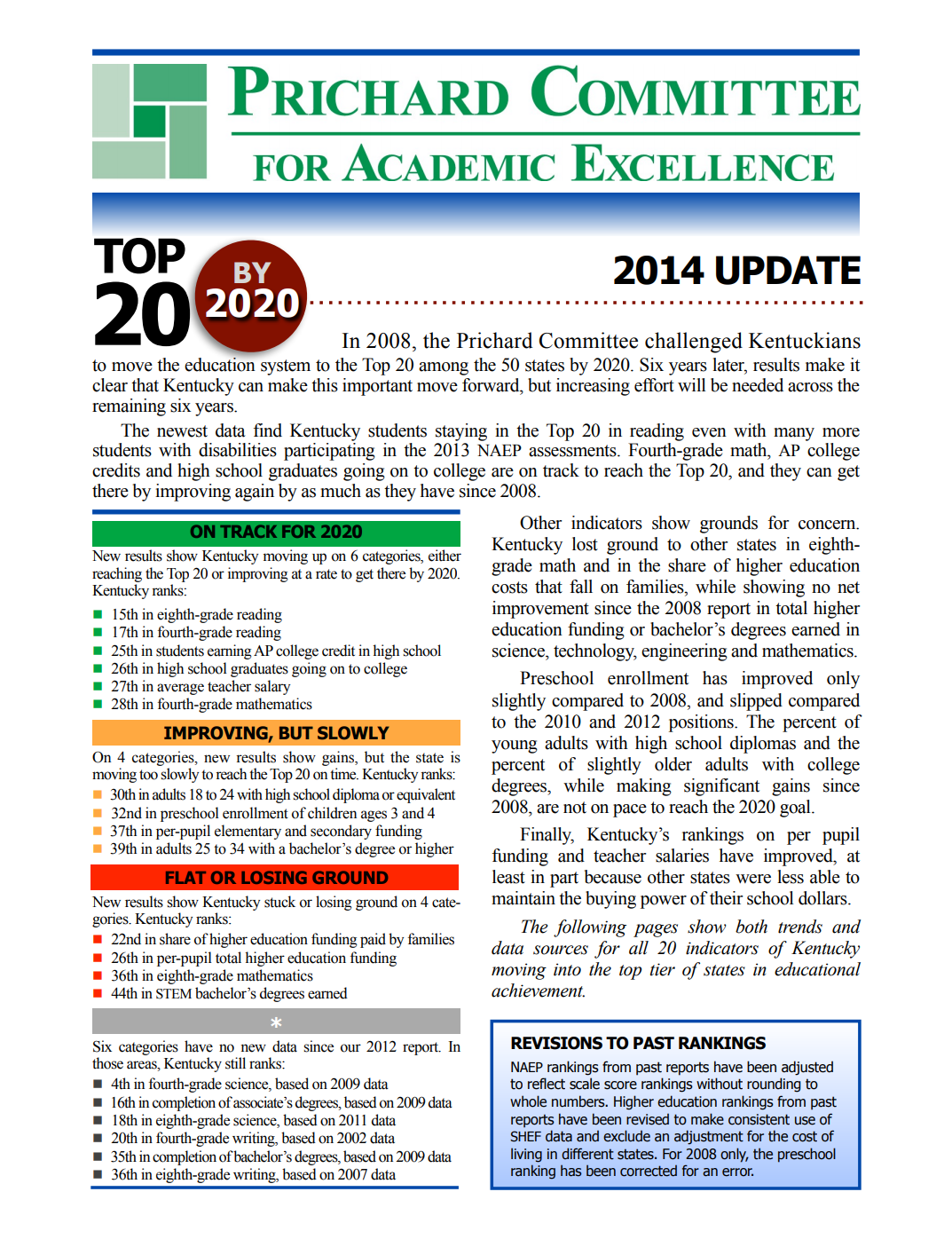 Achieving Top 20 by 2020: 2014 update